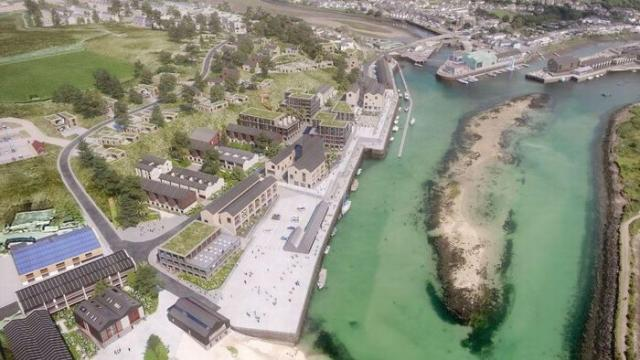 Drone and CGI footage shows what the redevelopment of Hayle harbour could look like